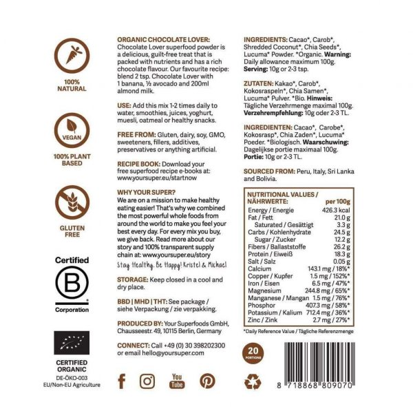your superfoods superfood mix chocolate lover organic super foods